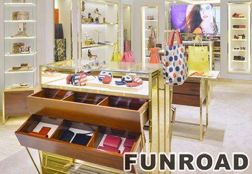 时尚女士手提包店展示柜,木制展示柜陈列架