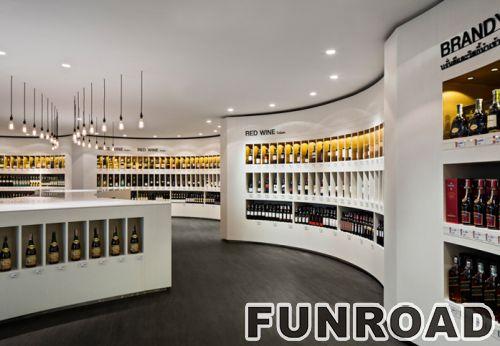 弧形白色烤漆嵌入式酒类展示柜