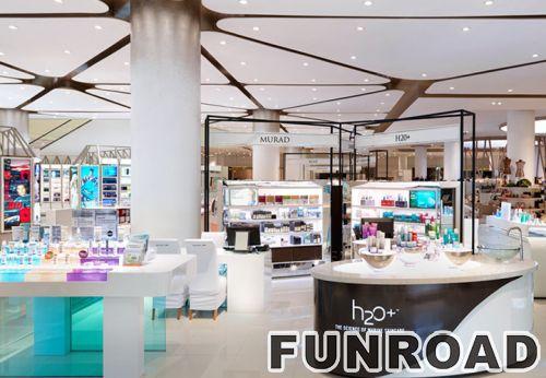 购物中心品牌化妆品售货亭零售显示柜台效果图
