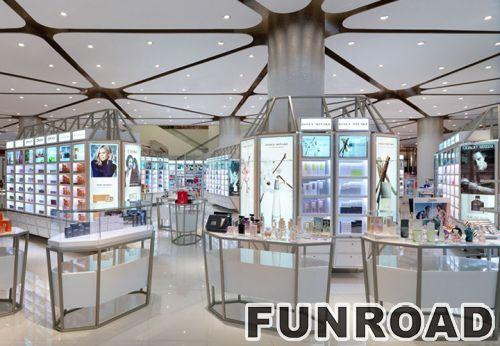 著名品牌化妆亭陈列柜的玻璃台面展示柜效果图