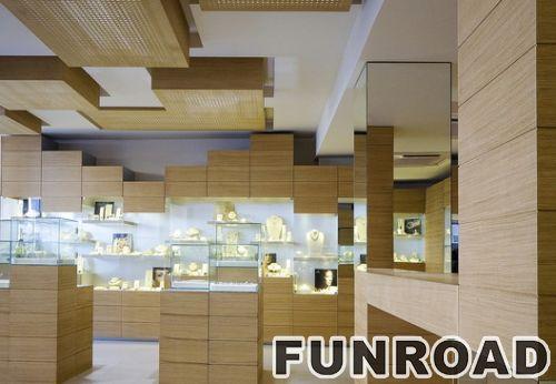 凡路展柜设计,木质玻璃台面珠宝首饰展示柜