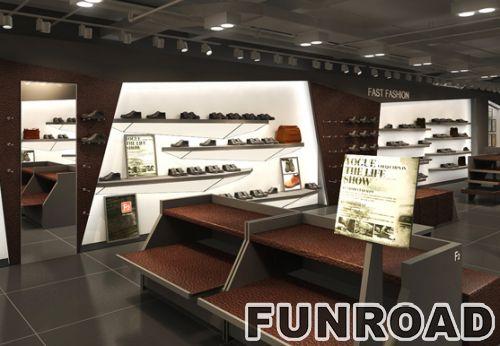 品牌鞋零售店展示柜设计木制陈列架