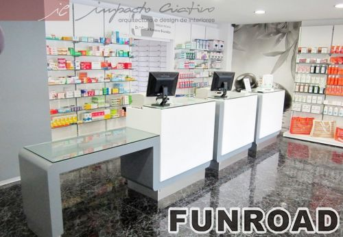 Illuminated display cabinets glass countertop made by mdf for Modern pharmacy design