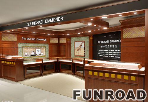 珠宝展厅胡桃木珠宝展柜 橱窗陈列柜