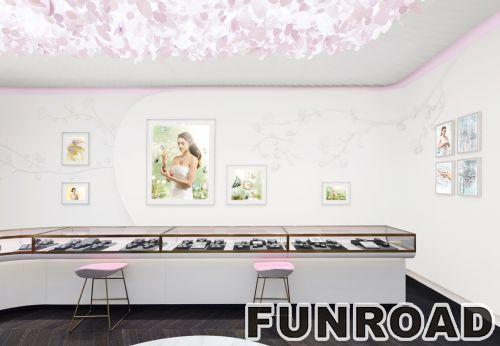弧形钢化玻璃珠宝展示柜设计制作