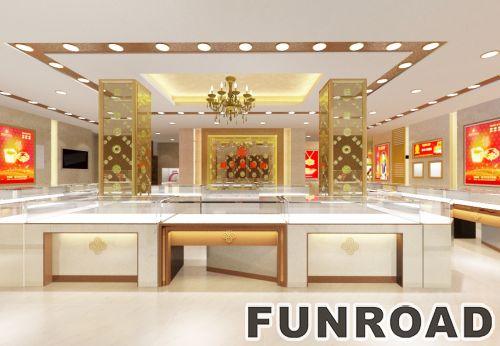 现代独特风格的木玻璃使用珠宝亭/手机陈列柜台