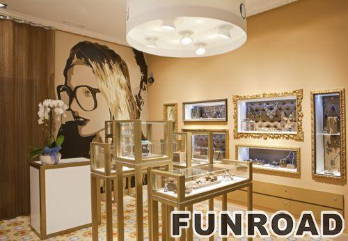 不锈钢展示金首饰品牌商店的黄金展示柜