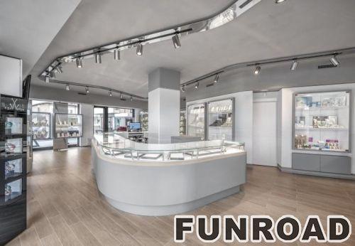 定制的发光玻璃陈列柜用于珠宝商店的装饰展示柜