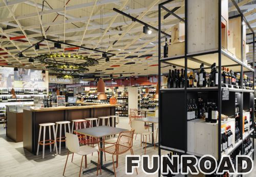 Modern wine retail shop interior design with wine bar for Commercial wine bar design ideas