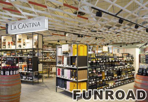 红酒展示柜中岛木质货架FUNROAD定制效果图