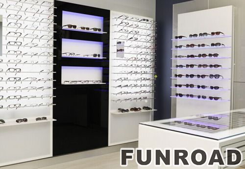 ... Optical Store Decorative Furniture Wooden Shelving With LED Lights And  Cash Counter Design ...