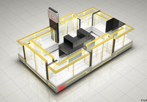 带LED灯的手机展柜亭设计