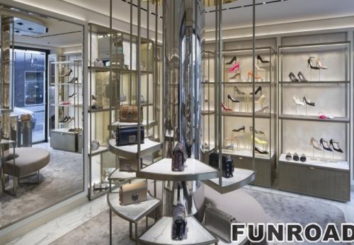 女式手提包鞋子店金属展示柜和陈列柜设计