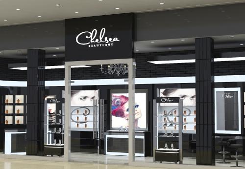 现代设计零售黑色烤漆化妆品商店展示橱窗