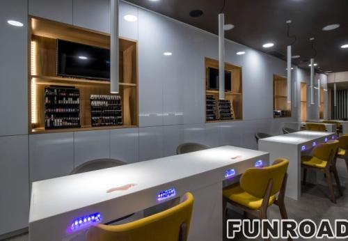 MDF显示柜用的指甲spa化妆品展柜