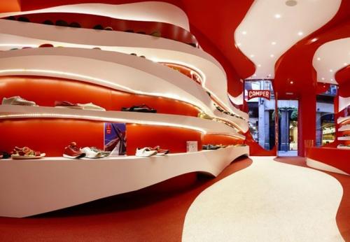木质烤漆鞋子展示架和鞋店红色展示柜设计