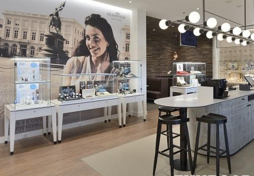 高端珠宝商店商业木制珠宝柜台陈列橱窗设计效果图