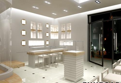 国际品牌商店珠宝展示柜台陈列橱窗立体效果图