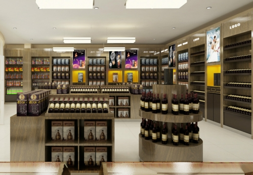 Wooden Wine Display Cabinet And Liquor Display Stand For Duty Free Store  Interior Design