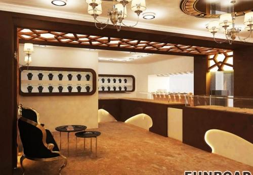 大理桑木风格珠宝展示柜台设计效果图