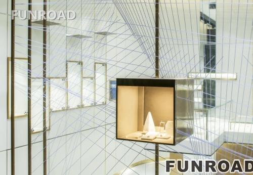 时尚奢侈木片压碎珠宝玻璃陈列柜展示效果图