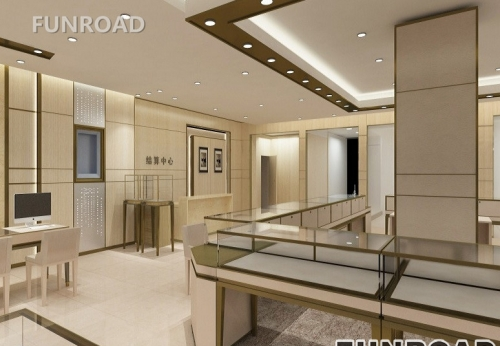 购物中心定制的木质珠宝陈列柜展示柜台设计效果图