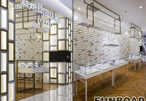 时尚玻璃橱窗展示珠宝首饰店展示柜台效果图