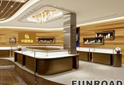 新款老牌珠宝店,珠宝展柜订制现场效果图