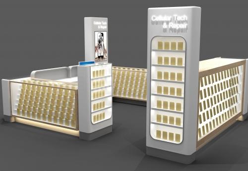 2017年新设计的手机显示屏,带Led灯设计制作展柜效果图