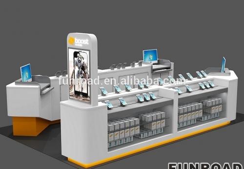时尚购物中心钢烤漆手机亭展示柜台订制款
