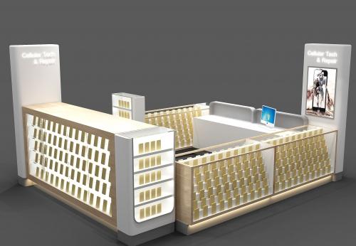 数码电子产品的显示架展示柜台效果图
