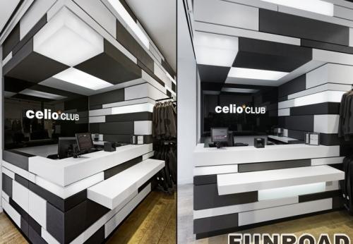 富路鞋店的内部设计和鞋子展柜陈列效果图