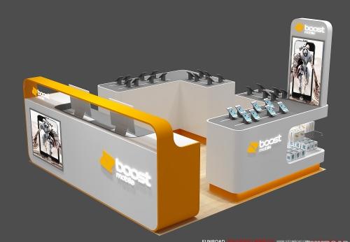 高质量的工厂直销制造金属手机亭,展示柜效果图