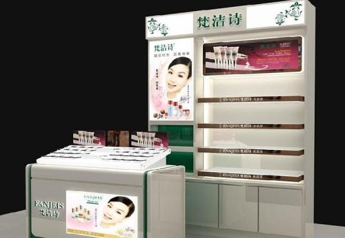 富路零售木架化妆品商店陈列展柜效果图-可来图订制