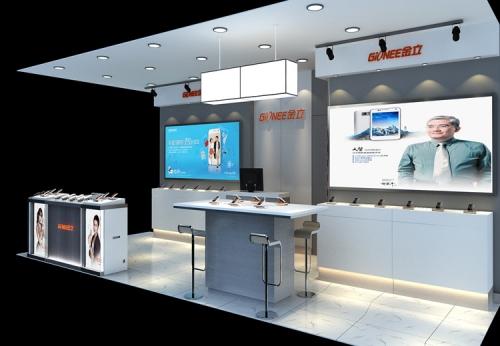 开放式设计木质手机展示手机零售展柜设计-可来图订制