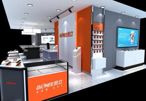 手机和配件设计好的展柜陈列效果图-可来图订制