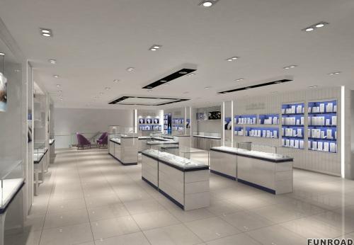 东莞品牌珠宝店木质烤漆珠宝展柜设计陈列效果图-可订制
