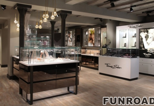 品牌店实木烤漆珠宝展示柜台制作效果图-可订制