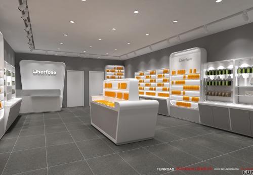 LED发光木制壁柜玻璃展柜手机配件