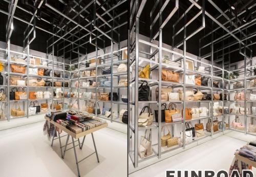 高端女装礼服品牌零售店LED发光手提包展示柜