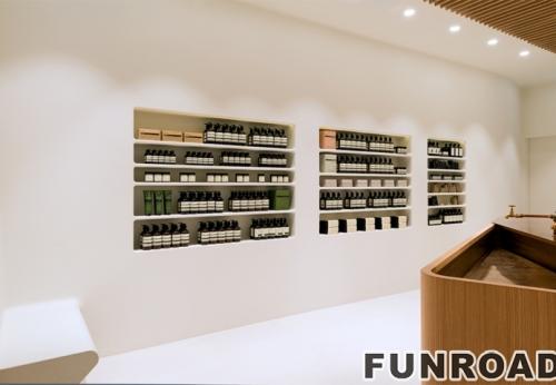 化妆品复古展示墙化妆品展柜设计玻璃木制展示柜