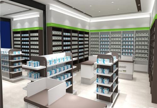 药店产品展示柜整体设计定制案例