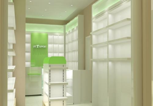 零售药房室内设计商店陈列家具展柜设计效果图