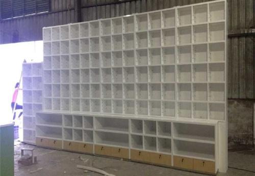 药店木质烤漆立式落地壁柜设真实产品图片