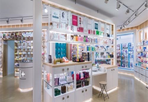 玻璃陈列架/药房展柜/零售商店货架