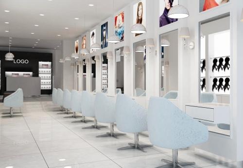 美发沙龙室内设计烤漆MDF理发店展示柜理发店柜台