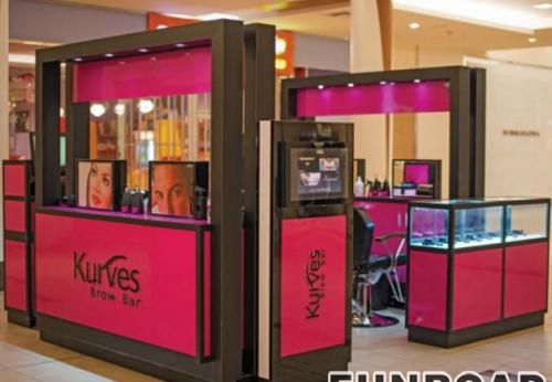 现代化妆品店铺设计,眉毛画线化妆品展示柜