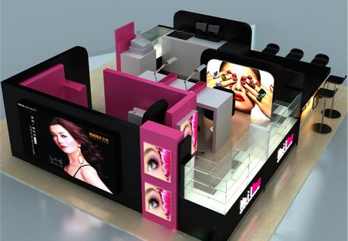 指甲棒化妆品展柜设计烤漆MDF化妆品展示柜化妆品柜台