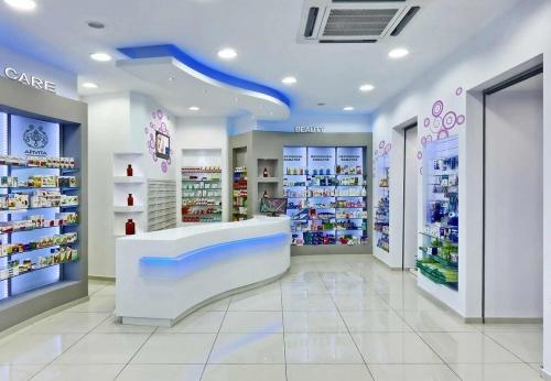 高档大气蓝紫色风格养生馆弧形壁柜设计效果图
