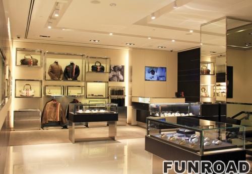 鞋表化妆品现代玻璃塔陈列展示柜